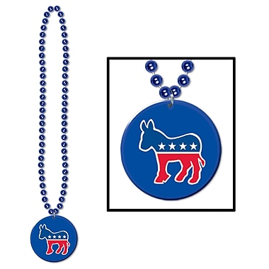 Beistle Beads Necklace With Democratic Medallion, 33