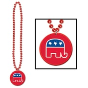 Beistle Beads Necklace With Republican Medallion, 33""