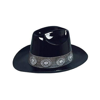 Plastic Cowboy Hat, One Size Fits Most, Black, 24/Pack