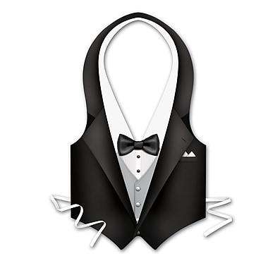 Packaged Plastic Tux Vest, One Size Fits Most, 4/Pack