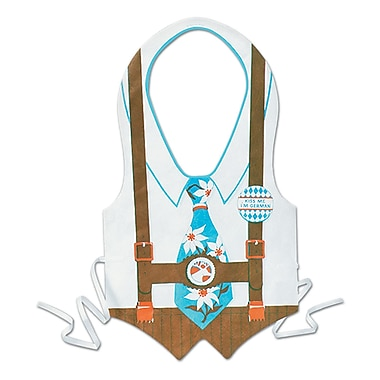 Blue Tie Plastic Oktoberfest Vest, 4/Pack