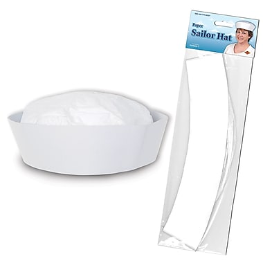Chapeau de marin en papier, taille unique, paquet de 7