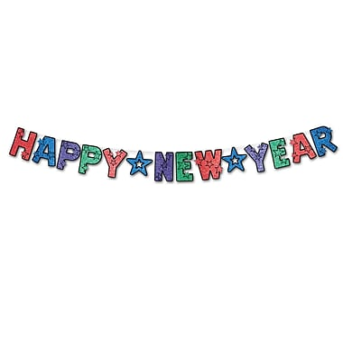 Glittered Happy New Year Streamer, 8-1/2