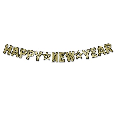 Banderole brillante « Happy New Year », 8 1/2 po x 8 pi 6 po, noir et doré, 2/paquet