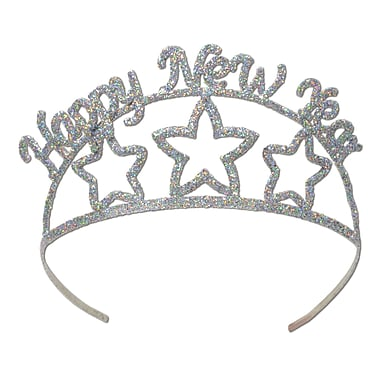 Glittered Metal Happy New Year Tiara, 2/Pack
