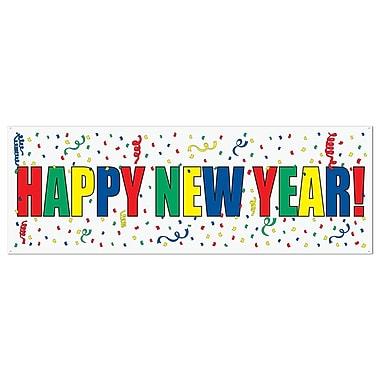 Banderole « Happy New Year », 5 pi x 21 po, 3/paquet