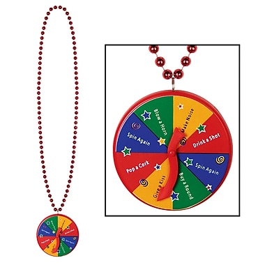 Beistle Beads Necklace With New Year Spinner Medallion, 40