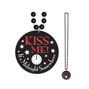 "Beistle 33"" Beads Necklace With Kiss Me Its Midnight Medals"