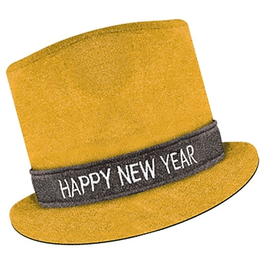 Chapeau haut-de-forme « Happy New Year » Glitz 'N Sparkle, doré, 3/paquet