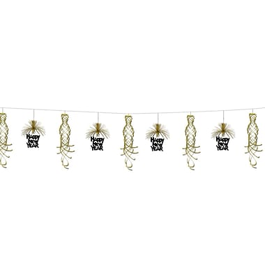 New Year Shimmer Garland, 10', Black & Gold, 2/Pack