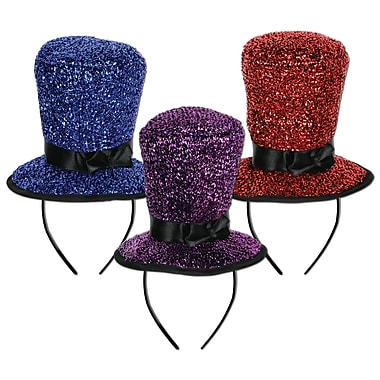 Sparkling Top Hat Headbands, Assorted, 12/Pack