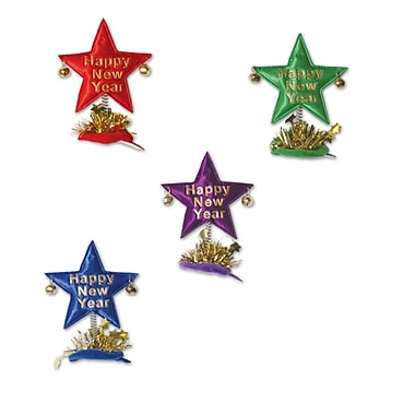 Happy New Year Star Hair Clips, Assorted Colours, 12/Pack