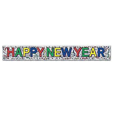 Banderole métallique à franges « Happy New Year », 8 pi x 5 po, 4/paquet