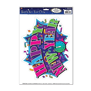 Autocollant « Happy New Year », feuille de 12 x 17 po, 8/paquet