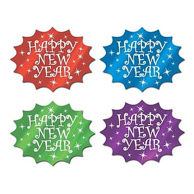 Découpages en aluminium « Happy New Year », 13 po, couleurs variées, 24/paquet