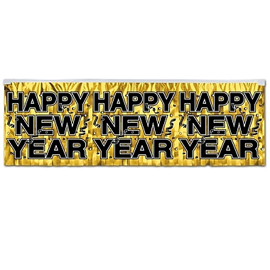 Banderoles métalliques à franges « Happy New Year », 14 po x 4 pi, 4/paquet