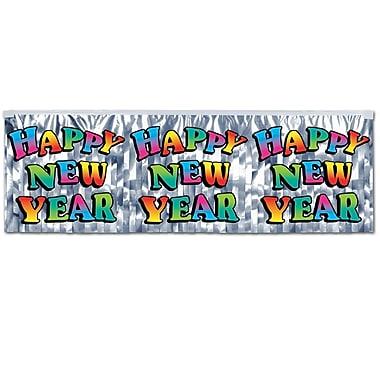 Bannière à franges au fini métallique « Happy New Year », 14 po x 4 pi, multicolore, 4/paquet