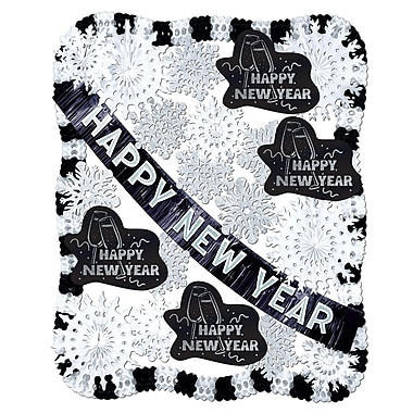 New Year Black & White Decorating Kit - 25 Pieces