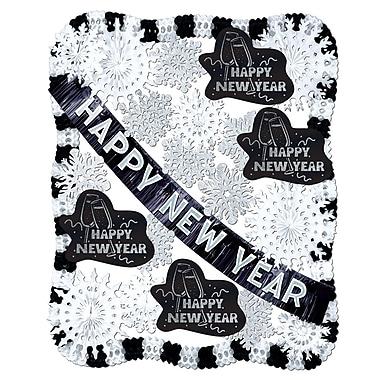 Trousse de décoration «New Year», noir et blanc, 25 pièces