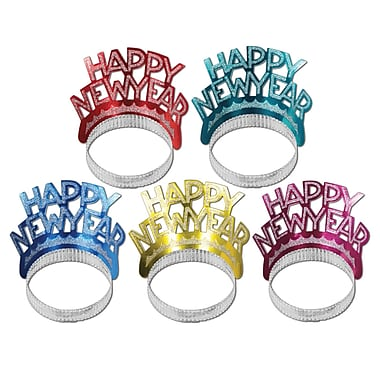 Happy New Year Tiaras, Assorted Colours, 50/Pack