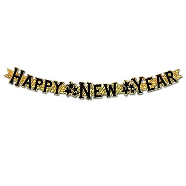 Banderole prismatique « Happy New Year », 3 1/2 po x 3 pi, doré, 6/paquet