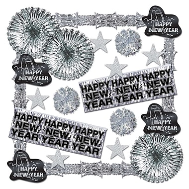Beistle 22-Piece Shimmering New Year Decorating Kit, Silver