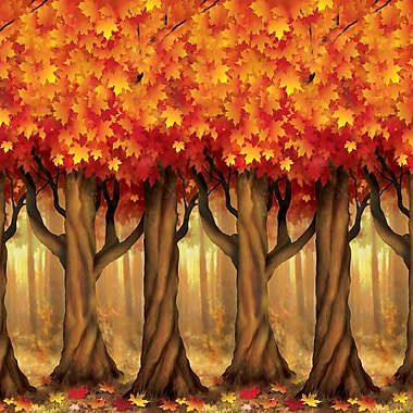 Beistle 4' x 30' Fall Trees Backdrop