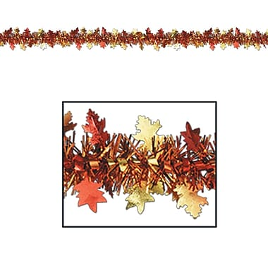 Beistle 12' Flame Resistant Metallic Autumn Leaf Garland, 3/Pack