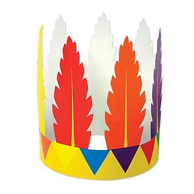 Bandeau amérindien plumes imprimées, taille universelle, 10/paquet