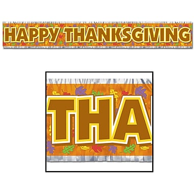 Metallic Happy Thanksgiving Fringe Banner, 8