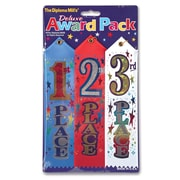 "Beistle 2"" x 8"" 1st 2nd 3rd Place Award Pack Ribbons, Blue/Red/White, 9/Pack"