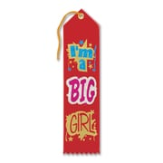 Beistle 2 x 8 Im A Big Girl Award Ribbon, Red, 9/Pack