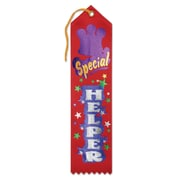 Beistle 2 x 8 Special Helper Award Ribbon, Red, 9/Pack