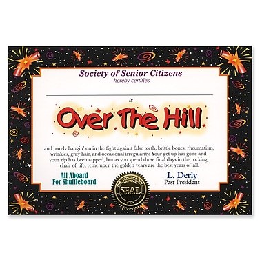 Beistle Over-The-Hill Certificate, 5