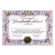 "Beistle World's Greatest Grandmother Certificate, 5"" x 7"""