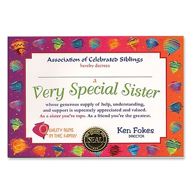 Beistle Very Special Sister Certificate, 5