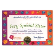 "Beistle Very Special Sister Certificate, 5"" x 7"""