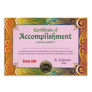 Beistle Certificate Of Accomplishment, 5