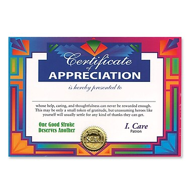 Beistle Certificate Of Appreciation, 5