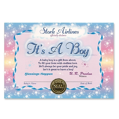 Certificat bleu clair « It's a Boy », 5 x 7 po, paquet de 7