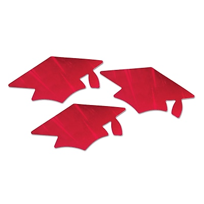 Beistle Red Metallic Grad Cap Cutouts, Red, 18/Pack 1072738