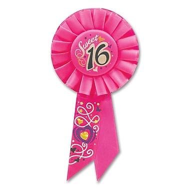 Sweet 16 Rosette Pink Satin, 3-1/4