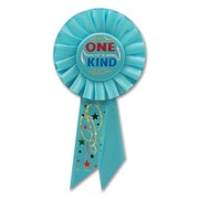 "Beistle 3 1/4"" x 6 1/2"" One Of A Kind Rosette Ribbon, Light Blue, 6/Pack"
