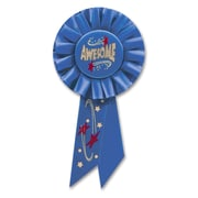 Beistle 3 1/4 x 6 1/2 Awesome Rosette Ribbon, Blue, 6/Pack