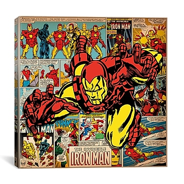 iCanvas Marvel Comics Iron Man Cover and Panel Graphic Art on Wrapped Canvas