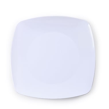 Renaissance Plastic White Rounded Square China Plate 7.5