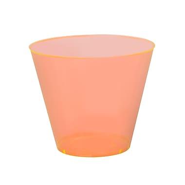 Savvi Serve Plastic Orange Neon Tumbler Squat 9 Oz.