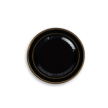 Silver Splendor Plastic Black With Gold Round China-Like 7