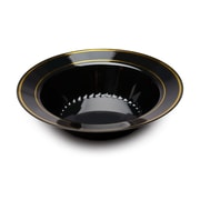 Silver Splendor Plastic Black With Gold Round China-Like 12 Oz.