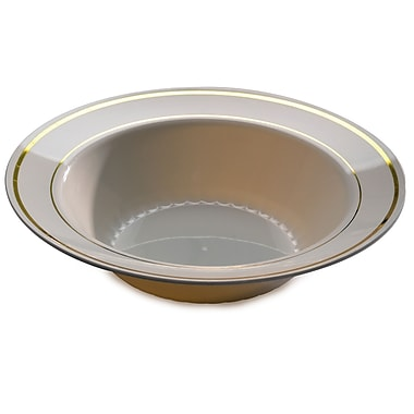 Silver Splendor Plastic Bone With Gold Round China-Like Bowl 12 Oz.